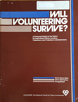 "A cover of a guide with the words ""Will Volunteering Survive?"
